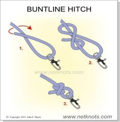 Buntline Hitch - Tie items to the end of a rope Paracord Knots, Rope Knots, Tying Knots, Survival Knots, Survival Skills, Fishing Hook Knots, Bowline Knot, Knots Guide, Ideias Diy