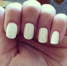Cable knit sweater nail art  by LookAtHerNails