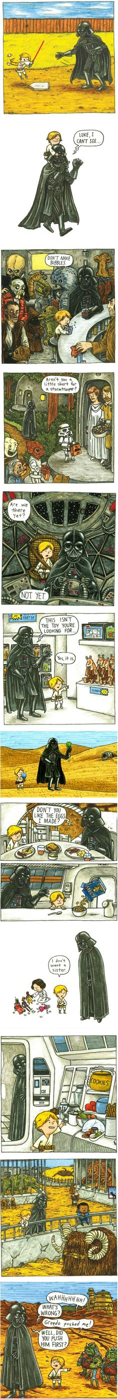 Scenes from Luke Skywalker's childhood if Darth Vader were a good father. From the book Darth Vader and Son by Jeffrey Brown Darth Vader And Son, Anakin Vader, Bd Star Wars, Star Wars Rebels, My Sun And Stars, Love Stars, Star Wars Personajes, Geeks, The Force Is Strong