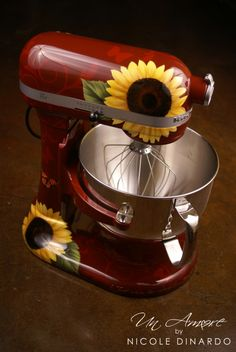 I LOVE THIS ONE !!!   CB   Red w/yellow sunflowers kitchen aid mixer. Or you can get a yellow mixer or for that matter any color with sunflowers. These are hand painted, it's mainly the photo I wanted. Buy the mixer and then get the paint job. Perhaps daffodils.