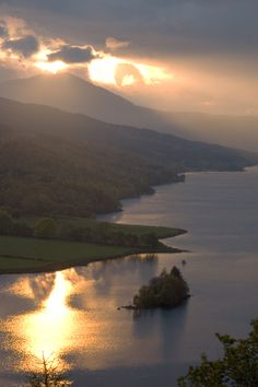 Queens View, reflected in Loch Tummel north west of Pitlochry in Perth and Kinross, Scotland.
