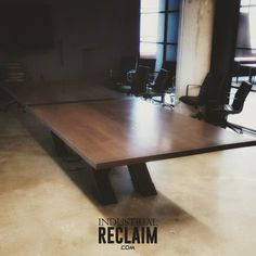 "Another view of the 14ft x 54"" conference table we built. Made of 2"" thick Ash & custom steel substructure.  IndustrialReclaim.com  #industrialfurniture #modernfurniture #design #art #handmade #decor #vintage #vintageindustrial #industrial #artofchi #creative #conference #clean #business #industrialdesign #interiordesigner #robbreport #interiordesign #modern #moderndesign #modernindustrial #chicago #Chicagoart #insta_chicago #chicagogram"