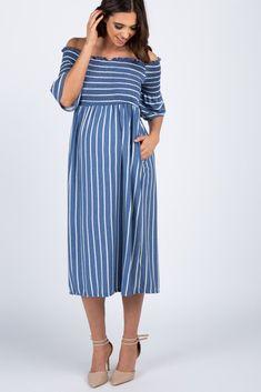 281d328142e  53 - Navy Striped Smocked Off Shoulder Maternity Dress Off Shoulder Maternity  Dress