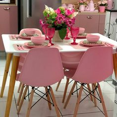 Dining Chairs, Dining Room, Home Office Decor, Home Decor, Table Arrangements, Pink Love, Candy Colors, New Homes, Table Decorations