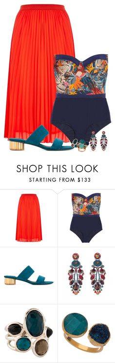 """""""weekend escape"""" by fantasia-fashion ❤ liked on Polyvore featuring Zimmermann, Salvatore Ferragamo, Ayala Bar, Ippolita, Janna Conner Designs, Les Néréides, sandals, print, swimsuit and pleats"""