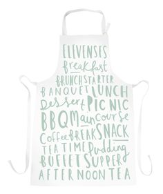 Meal Names Apron - duck egg apron