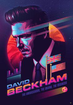 Signalnoise :: The Work of James White - David Beckham Poster Gfx Design, Neon Design, Retro Design, Flyer Design, James White, Poster Design Inspiration, Design Poster, Poster Designs, 80s Posters