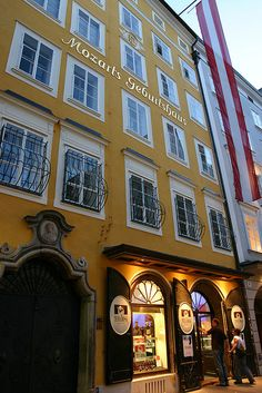 Mozart's Birth House | Salzburg, Austria - and the well-lighted shop next door is a deli and bakery that sells Mozart themed pastries, candies, and wines!  I brought home a beautiful bottle from this place.