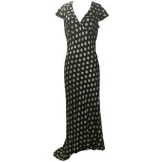cdff1a25776 Moschino Couture! Black and White Silk Polka Dot Long Maxi Dress