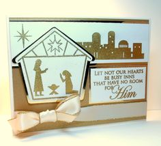 """""""Christmas Nativity"""" card made with:  - Gina K Designs """"City of David"""" stamp set  - Gina K. Designs Pure Luxury 120 lb. Ivory card stock  - Gina K. Designs Pure Luxury 80 lb. Ivory layering weightcard stock  - Gina K. Designs Good As Gold card stock  - Gold metallic card stock  - Gina K. Designs Satin Gold-edged ribbon in Ivory  - Stamped images and sentiment heat embossed with Versamark and Ranger Super Fine Detail in Gold"""