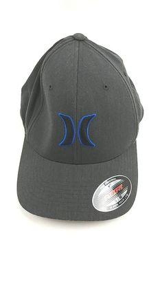 HURLEY BLACK SUITS Graphite Gray Stretch Fit Flexfit Size S M HAT CAP  deb741d55de7
