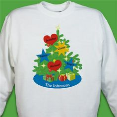 52c866d0 Personalized Christmas Tree Sweatshirt - Add up to 7 family member's names  as ornaments on this