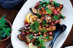 Roast eggplant with green tahini dressing - Recipes - delicious.com.au