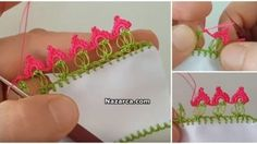 yuzuk-tasi-tig-oyasi Crochet Lace Edging, Crochet Patterns, Knitting Videos, Point Lace, Diapers, Embroidery Techniques, Bias Tape, Lace, Blue Prints