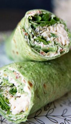 Chicken, Spinach & Cream Cheese Tortilla Wrap _ With a rotisserie chicken all the hard work is done for you. The cream cheese mixture is almost the star of the show featuring sour cream, green chilies, green onions & bacon bits! Mix a little spread, sprinkle some spinach, sprouts, & chicken, roll it up & you are on your way! #Wraps