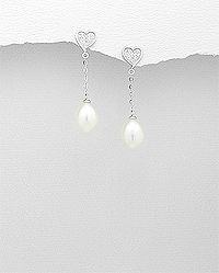 sterling silver earrings set with cubic zircon and decorated with fresh water pearl