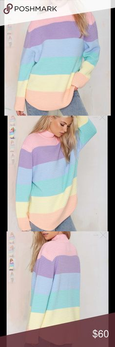 #169🦁🍂 You don't gotta front... but we highly recommend it. The Front Sweater is made in a ribbed knit and features pastel rainbow stripes, oversized fit, and mock neck. We love it as a dress with high-top tennies, or thrown on over leather leggings. By UNIF.  *Acrylic  *Runs true to size  *Model is wearing size small  *Machine wash cold  *Imported UNIF Sweaters