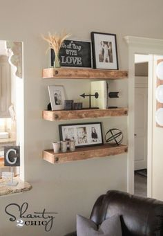 DIY Floating Shelves Wooden Bathroom ShelvesWooden ShelvesRustic Living Room DecorLiving IdeasLiving