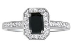 1ct Black Diamond Emerald Engagement Ring in 14k White Gold, Also Available in Other Diamond Weights