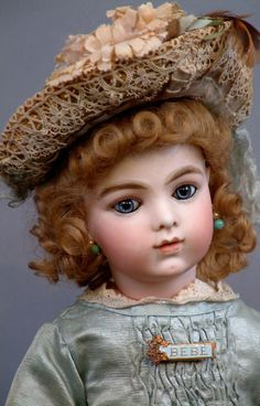 BRU JNE 7 Antique French Bebe in Superb Original dress, wig and shoes plus a fabulous Trousseau including extra shoes, dress accessories, parasol, Doll Wigs, Doll Costume, Bisque Doll, Old Dolls, Dollhouse Dolls, Antique Toys, Doll Face, Vintage Dolls, Beautiful Dolls