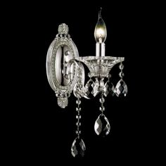 """Show details for 11"""" Vittoria Traditional Crystal Candle Wall Sconce Polished Chrome 1 Light."""