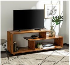 60 Rustic Modern Solid Wood TV Stand Console Entertainment Center Amber - Saracina Home Tv Stand Decor, Diy Tv Stand, Crate Tv Stand, Tv Stand Designs, Tv Stand Console, Tv Stand Bookshelf, Tv Stand With Shelves, Center Console, Solid Wood Tv Stand