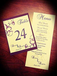 Coordinating menus and table numbers
