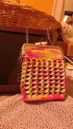 Square pinkyellish coin purse