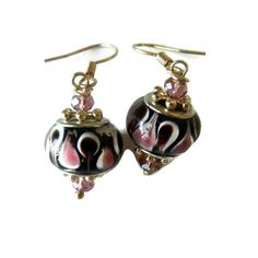 Pink Black and Brown Beaded Earrings by CloudNineDesignz on Etsy, $8.00