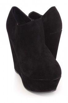 Black Closed Toe Wedge Booties Faux Suede