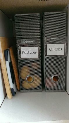 Also in the pantry, use magazine holders to keep your onions, potatoes and other dark-loving veggies from rolling around and getting forgotten behind a bag of chips. Via Mimi's Crafty World