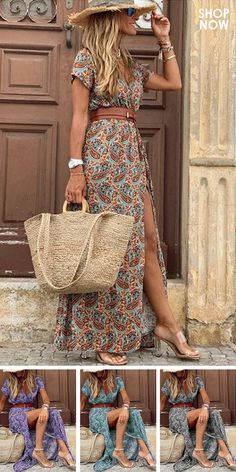 Look Boho Chic, Looks Chic, Boho Fashion, Fashion Outfits, Fast Fashion, Robes Midi, Spring Dresses Casual, Vacation Dresses, Trendy Clothes For Women