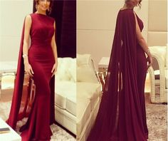 Charming Burgundy Mermaid Silk Chiffon Robe Prom Gown with Cape Sweep Train, Burgundy Evening Gowns, Party Dresses