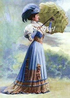 Fashionable Lady Dressed in Purple with Parasol by naturepoet, $4.50