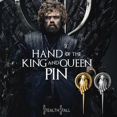 GAME OF THRONES HAND OF THE KING BRIGHT GOLD PIN NED STARK TYRION LANNISTER