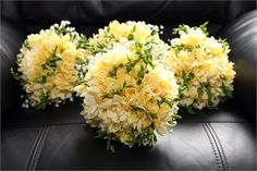 Delightful handteid bouquet of Fragrant Freesia. Elegant and Light.