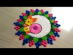 Super creative rangoli design/easy,quick,small and simple 5 minutes rangoli design by jyoti Rathod Rangoli Designs Latest, Rangoli Designs Images, Rangoli Designs Diwali, Diwali Rangoli, Beautiful Rangoli Designs, Latest Rangoli, Indian Rangoli, Rangoli Colours, Rangoli Patterns