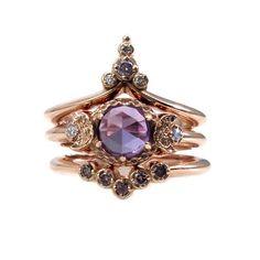 Lavender Moon Temple Rose Gold Engagement Ring Set  Lab