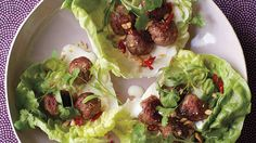 Mini Asian Meatballs in Lettuce Cups and more on MarthaStewart.com