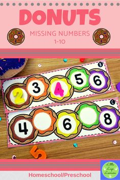 These Donuts Missing Numbers 1-10 are the perfect addition for learning in your Math Centers. These activities are engaging with their challenging content! Your 4-6 year old kids will enjoy learning about Donuts and numbers with this time saving resource. Preschool Shapes, Numbers Preschool, Kindergarten Activities, Preschool Ideas, Preschool Activities, Pre K Activities, Number Activities, Kids Learning Activities, Teaching Ideas
