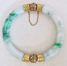 2 Carved Pieces of Mottled Opaque Off White & Green Jadeite Jade. Each Jadeite Section approx. I do not know what grade of Jadeite this is or if it has been treated. Jade Bracelet, Bangle Bracelets, Bangles, Diamond Bracelets, Jade Jewelry, Modern Jewelry, Dior Vintage, Christian Jewelry, Bracelet Designs