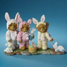 """""""Our Friendship Is Hopping"""" Kimberly, Katheryn & Katie (3 Bears Dressed As Bunnies) Cherished Teddies"""