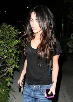 "So getting this done. Cinnamon/caramel ""peek-a-boo"" Highlights. Looks fabulous on Megan Fox"