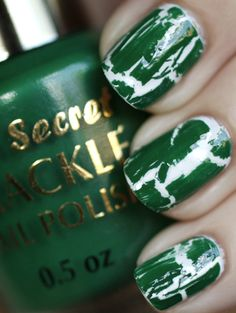 Green Crackle nails