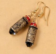 "Etched bullet casing jewelry, earrings ""Wild West"" by sally"