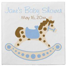 Blue Rocking Horse Baby Shower Napkins