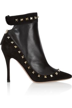 Valentino | Studded suede and leather ankle boots