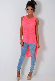 http://www.pinkboutique.co.uk/new-in/sumoda-neon-coral-crochet-effect-drop-hem-top.html