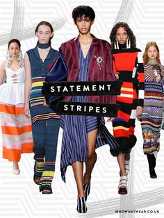Spring summer 2017 fashion trends: It's ALL about stripes in bold colours and clashing directions. Think primary brights layered one on top of the other, as seen as Proenza Schouler, Mulberry, Delpozo and many many more.