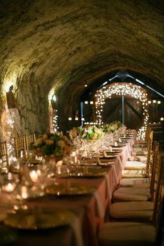 wine cellar wedding reception http://www.weddingchicks.com/2013/09/03/elegant-vineyard-wedding/